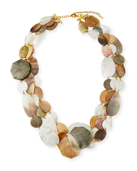 VIKTORIA HAYMAN Three-Strand Mother-Of-Pearl Necklace in Multi