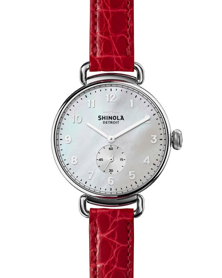 Shinola The Canfield 38mm Watch w/Alligator Strap, Red