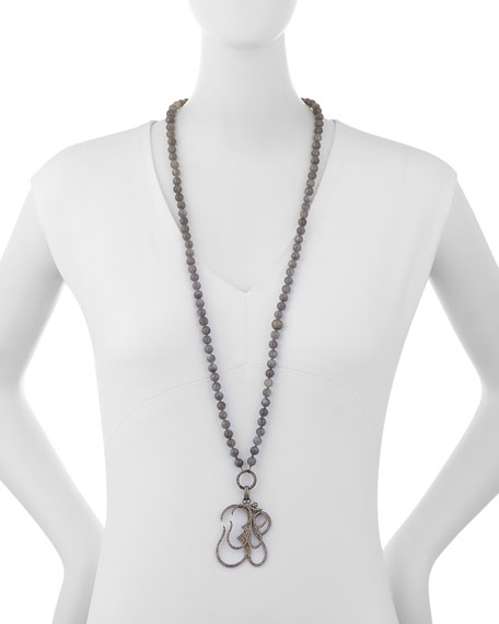 Long Knotted Labradorite Necklace with Diamond Om Pendants
