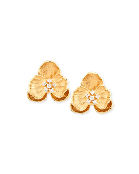 18k Small Orchid Clip Earrings with Diamonds
