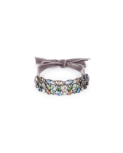 Medium Crystal Choker Necklace w/Velvet Ties, Water Blue