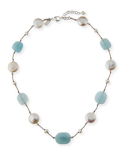 Aquamarine, Pearl & Crystal Station Necklace