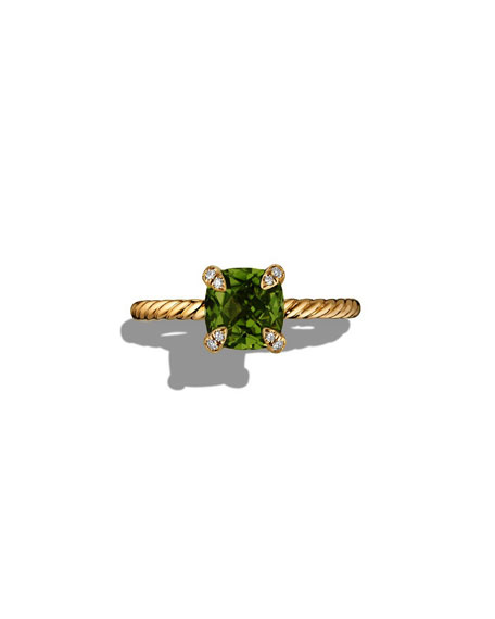 Châtelaine Peridot Ring with Diamonds, Size 6