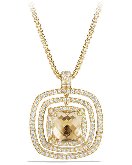 Châtelaine Pavé Diamond Bezel Enhancer with Champagne Citrine