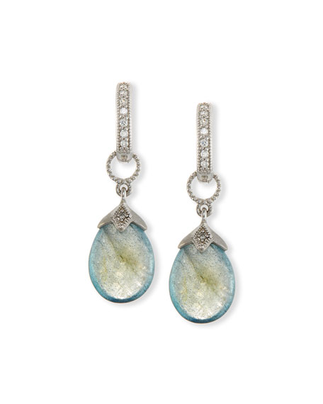 Pear-Shaped Labradorite Briolette Earring Charms with Diamonds