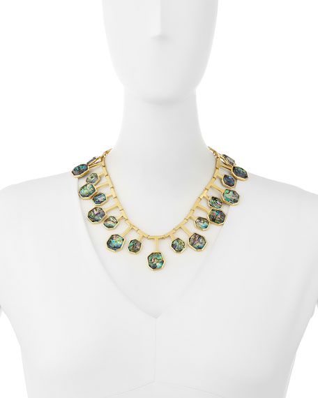 Staggered Abalone Shell Station Necklace