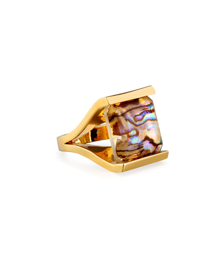 Lele Sadoughi Bedrock Square Abalone Shell Ring, Size