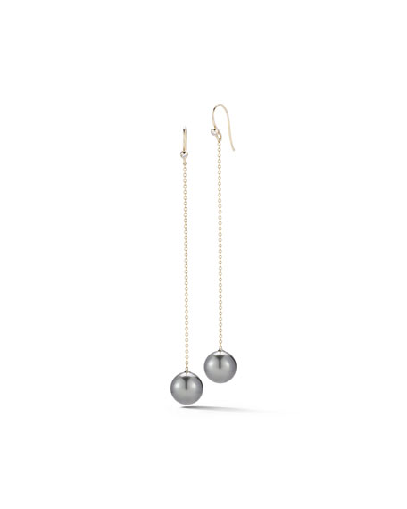 Tahitian Pearl & Diamond Chain Drop Earrings