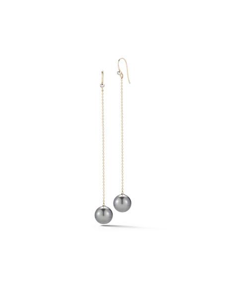 Tahitian Pearl & Diamond Chain Drop Earrings