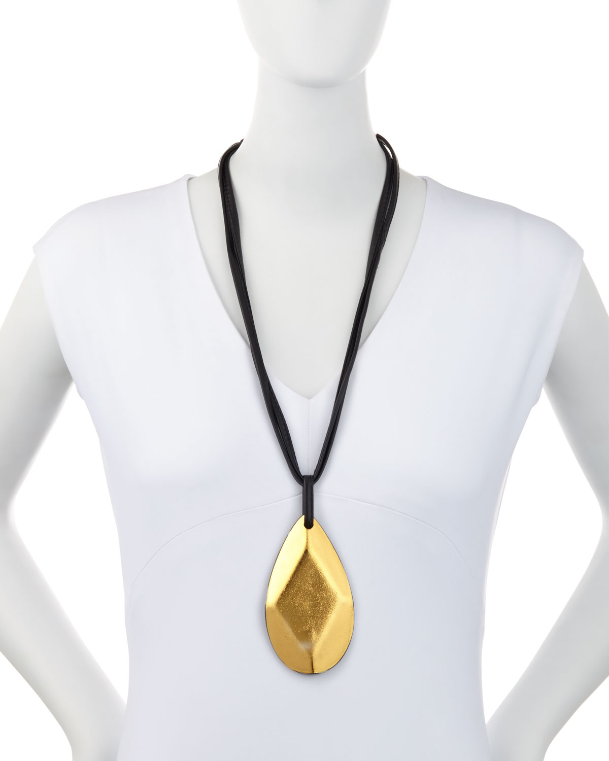 Viktoria Hayman Faceted Gold Foil Pendant Necklace Y0K5IFeLIs