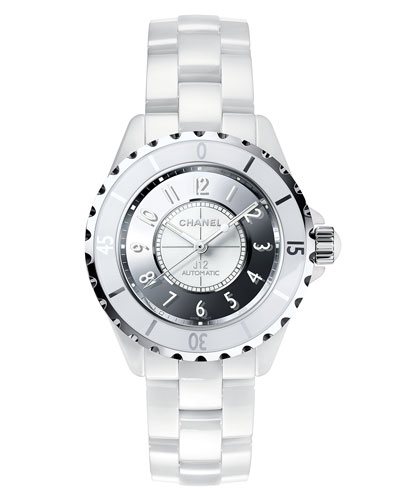 J12 Mirror 38mm White Ceramic and Steel Watch