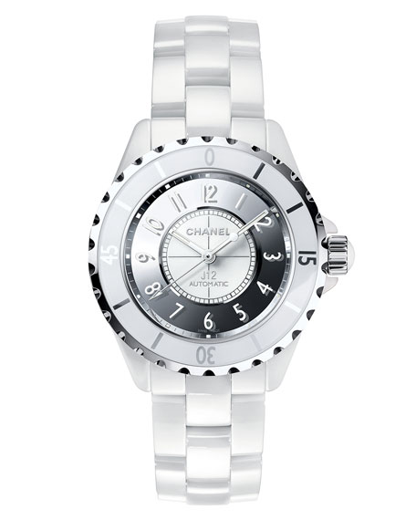 J12 Mirror 38mm White Ceramic and Steel Watch