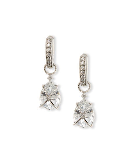 Tiny Crisscross Wrapped White Topaz Earring Charms with Diamonds