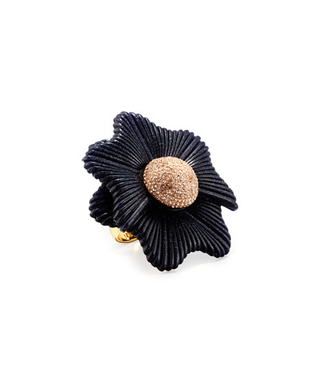 Lele Sadoughi Sugarbush Petal Ring, Dark Blue, Size