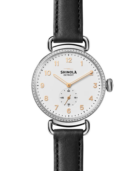 Shinola 38mm Canfield Watch with Diamonds, Black