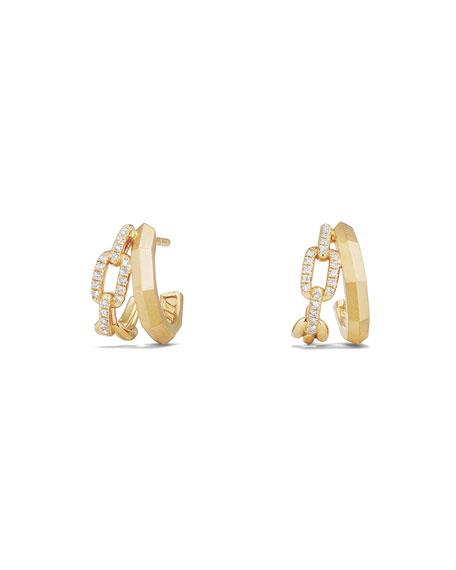 Stax 18K Gold Double Huggie Hoop Earrings with Diamonds