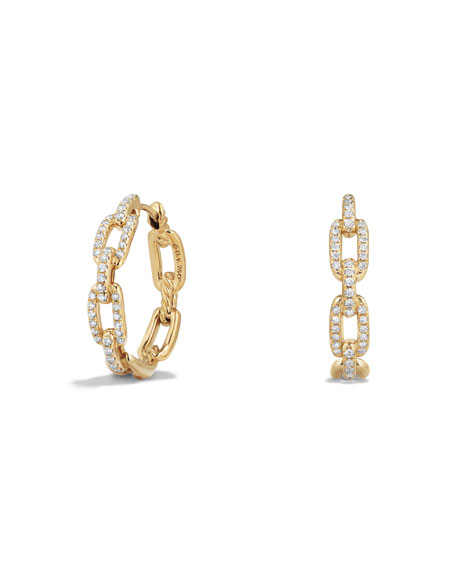 Stax Medium Chain-Link Hoop Earrings with Diamonds in 18K Yellow Gold