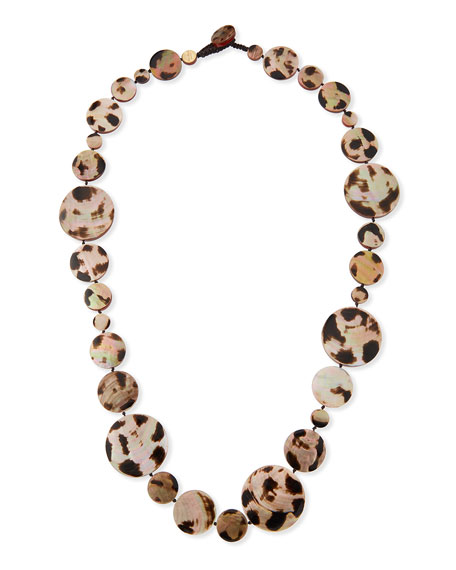 Long Shell Disc Necklace in Leopard, 42""
