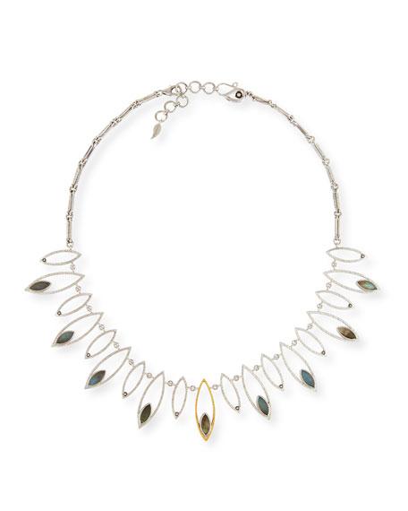 Marquis Labradorite & Diamond Station Necklace
