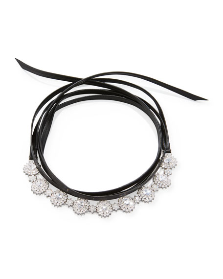 Surround Crystal & Leather Wrap Choker