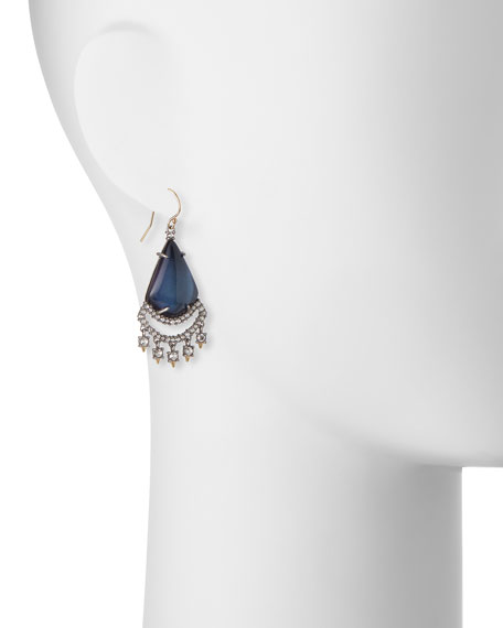 Crystal Lace Chandelier Earrings, Blue Velvet