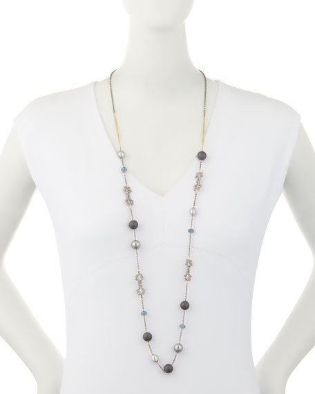 Pearly Crystal Lace Station Necklace, 42""