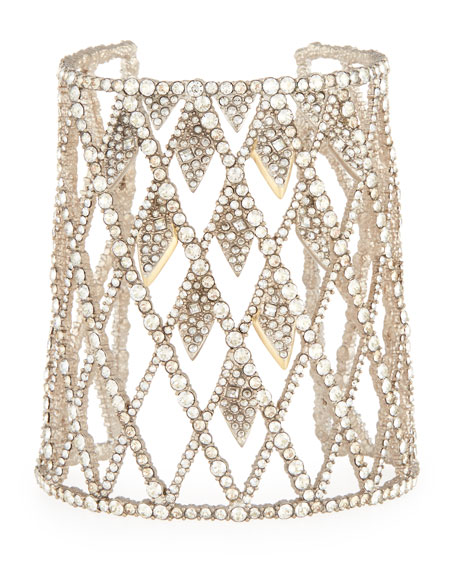Alexis Bittar Crystal-Encrusted Spiked Lattice Cuff Bracelet