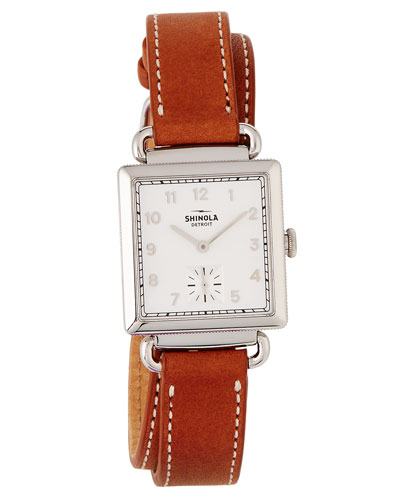 The Canfield Square Watch w/ Leather Strap  White/Bourbon