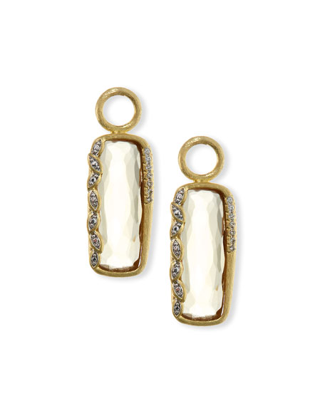 Sonoma Long Cushion Champagne Citrine Earring Charms with Diamonds