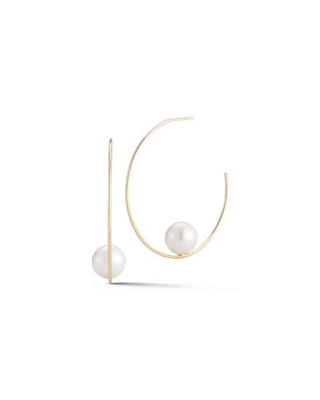 Floating Pearl Hoop Earrings
