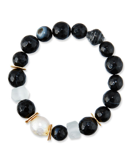 Akola Black Agate, Sea Glass & Pearl Bracelet,