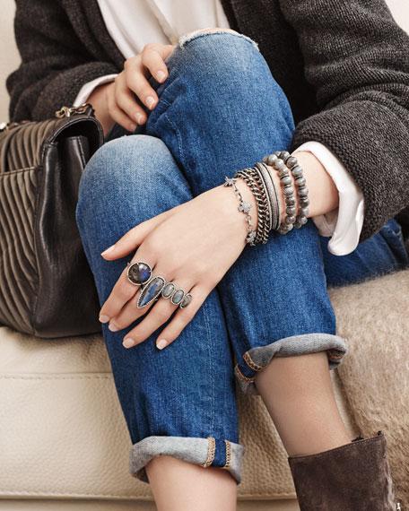 Round Labradorite Ring with Diamonds, Size 8