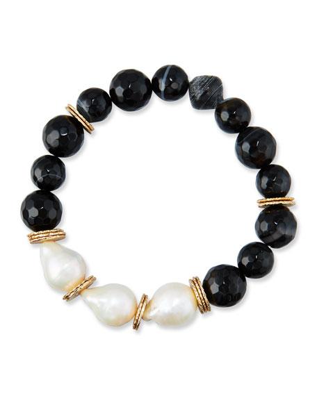 Black Agate & Baroque Pearl Bracelet, Black