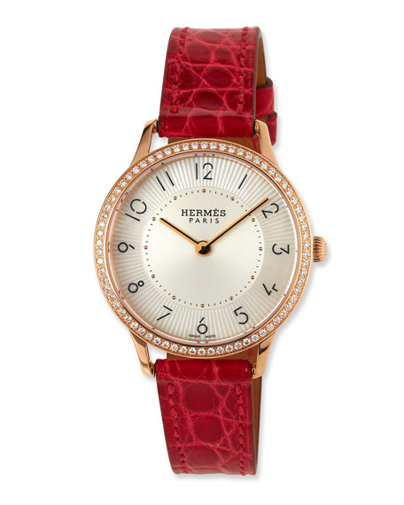 Slim d'Hermes Watch with Diamonds & Red Alligator Strap