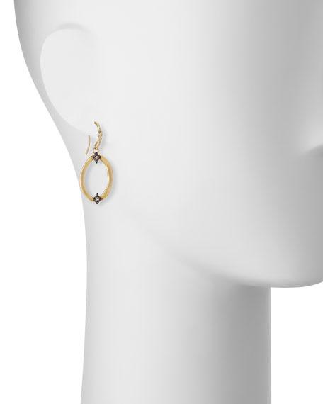 Open Oval Drop Earrings with Diamond Crivelli Crosses