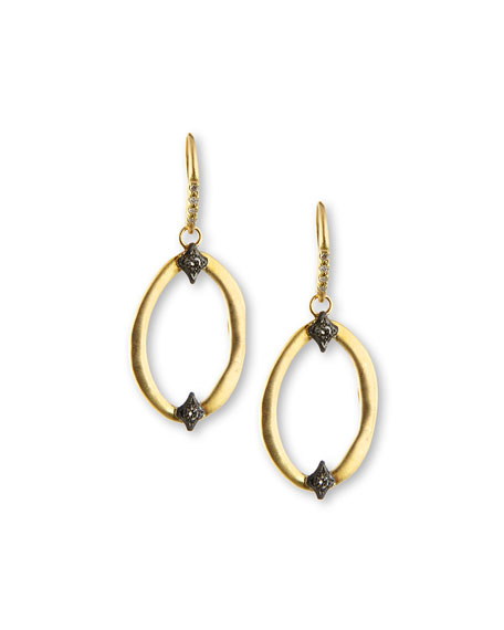 Armenta Open Oval Drop Earrings with Diamond Crivelli