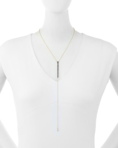 Old World Champagne Diamond Lariat Necklace