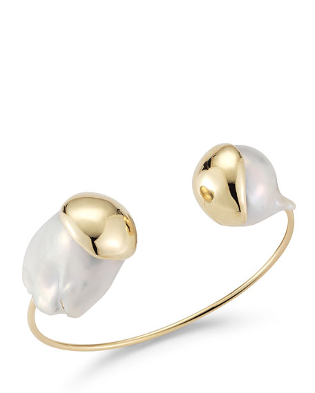 Fluid Baroque Double-Pearl Open Cuff Bracelet in 14K Gold
