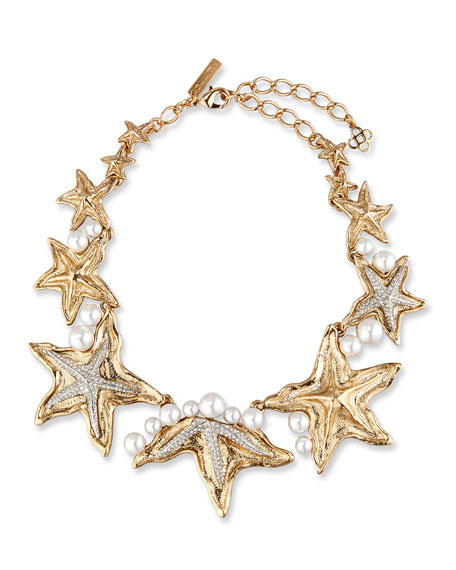 Oscar de la Renta Pave Sea Star Necklace,