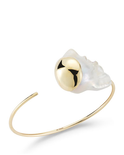 Fluid Baroque Pearl Open Cuff Bracelet in 14K Gold