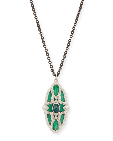 Armenta New World Teal Mosaic & Opal Necklace