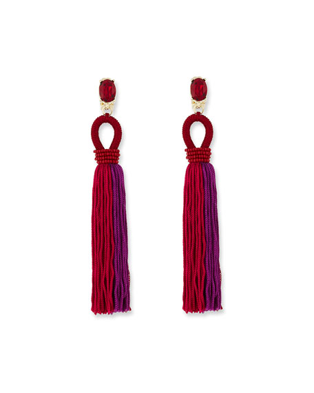 Long Gradient Looped Tassel Earrings, Pink