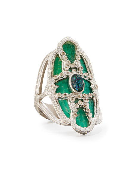 Armenta New World Teal Mosaic & Opal Ring