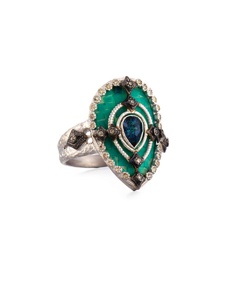 New World Mosaic Pear Ring