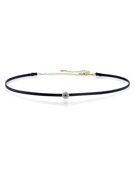Leather Choker Necklace with Diamond Eye Disc Slider, Black