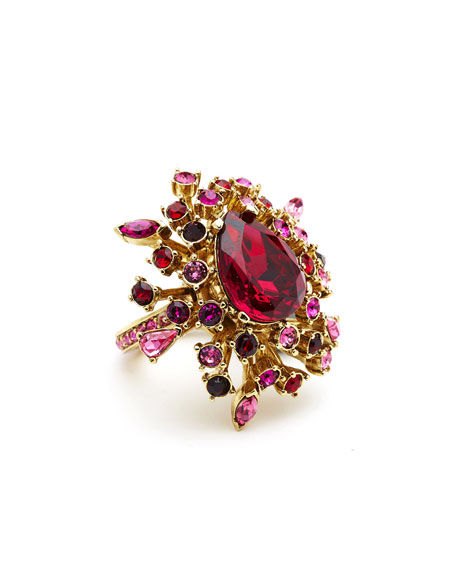 Tiered Crystal Ring, Hot Pink