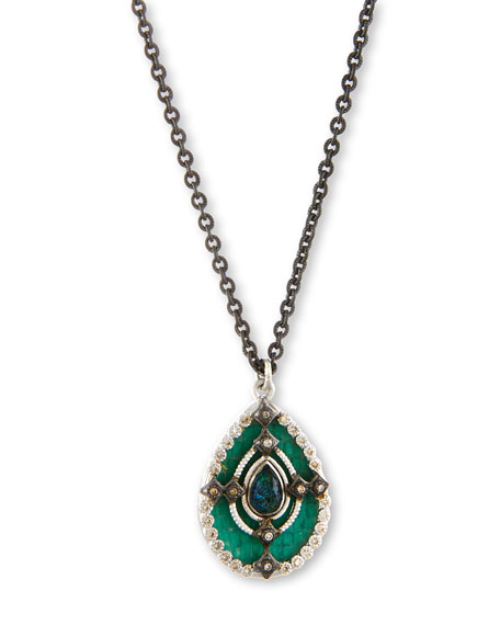 Armenta New World Teal Mosaic Pendant Necklace