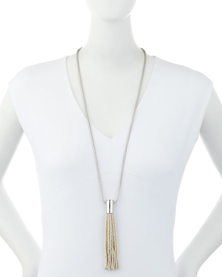 Weeping Willow Pearly Tassel Pendant Necklace