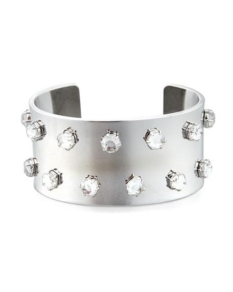 Lele Sadoughi Crystal-Studded Silvertone Cuff Bracelet