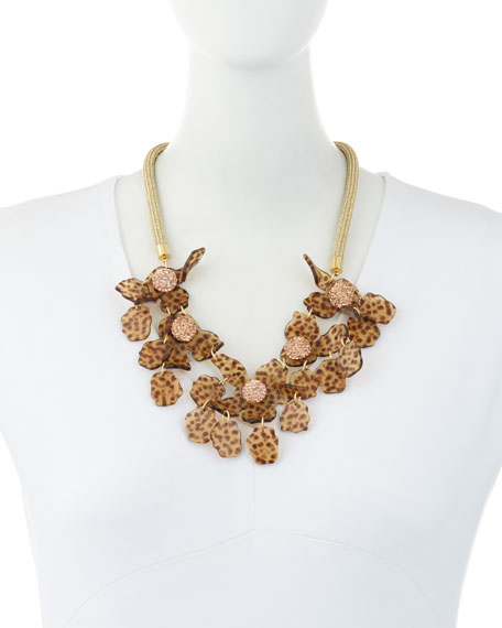 Sculptural Lily Crystal Statement Necklace, Brown